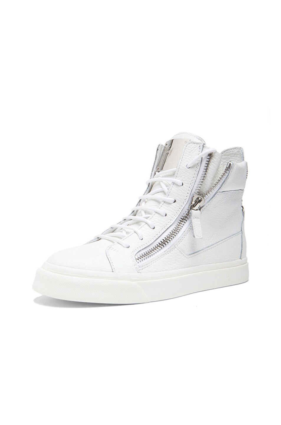 Image 2 of Giuseppe Zanotti Lindos Leather Sneakers in White