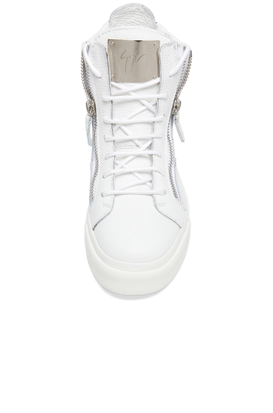 Image 4 of Giuseppe Zanotti Lindos Leather Sneakers in White