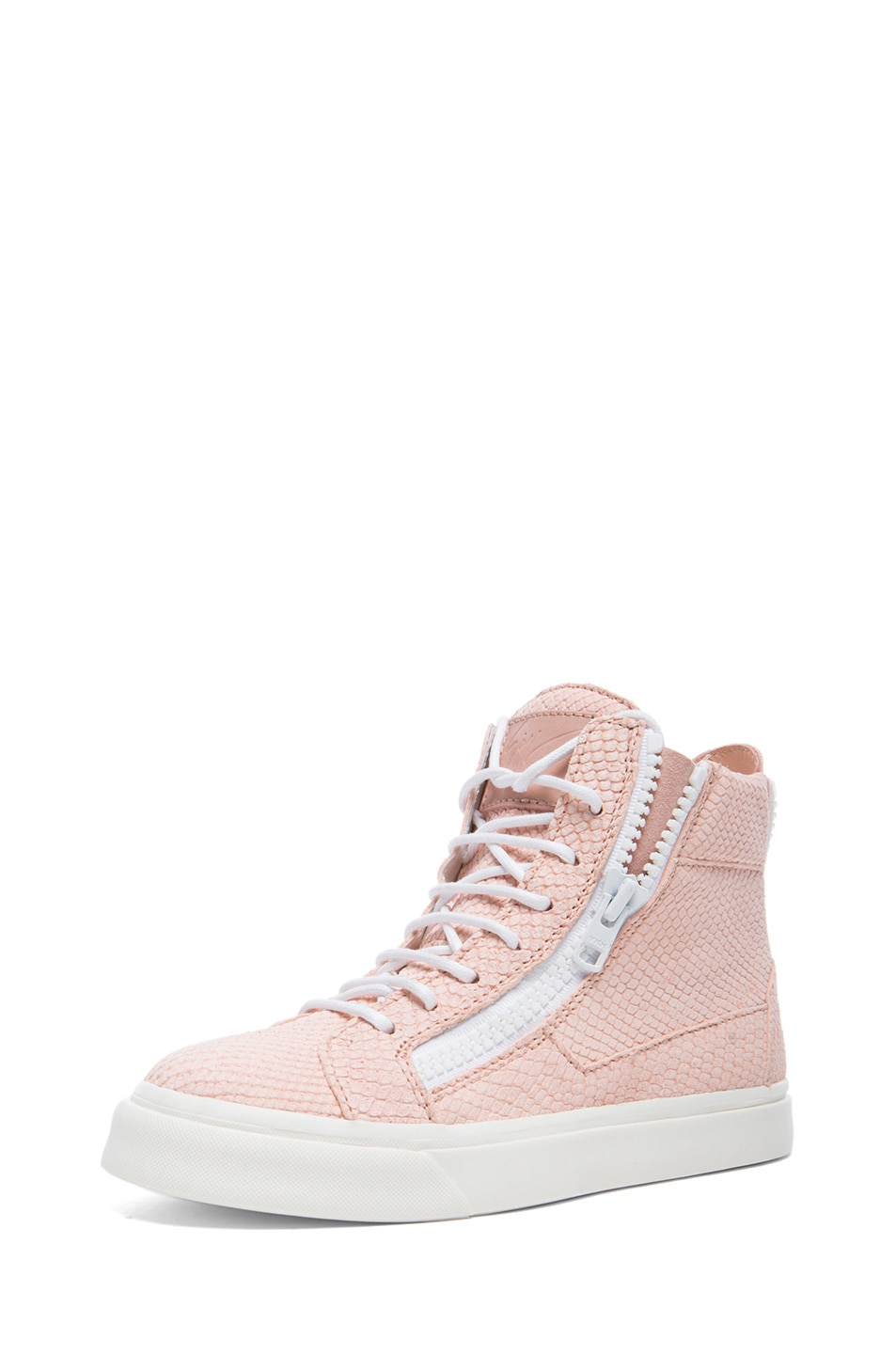 Image 2 of Giuseppe Zanotti Caspide Embossed Suede Sneakers in Shell