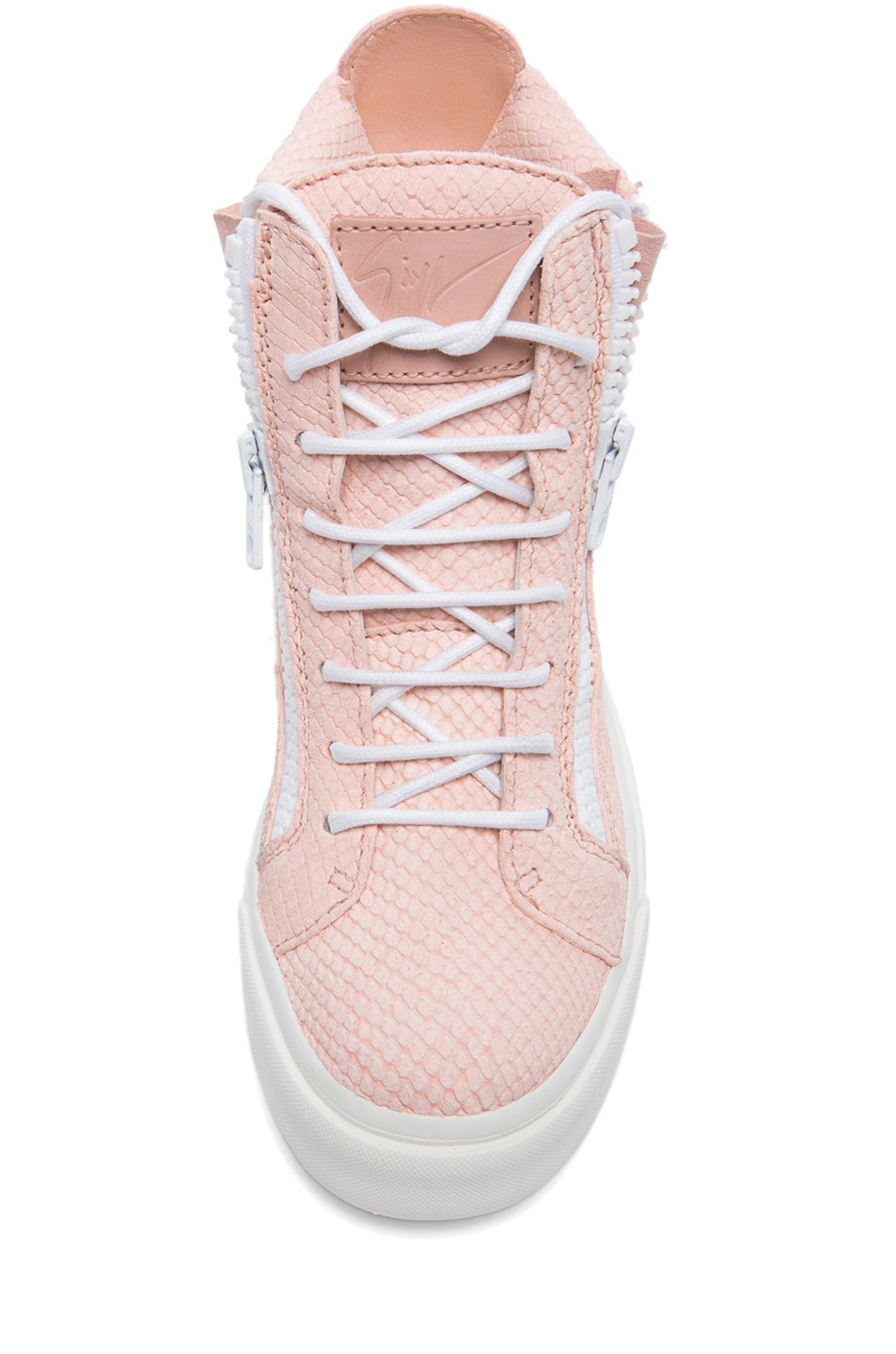 Image 4 of Giuseppe Zanotti Caspide Embossed Suede Sneakers in Shell