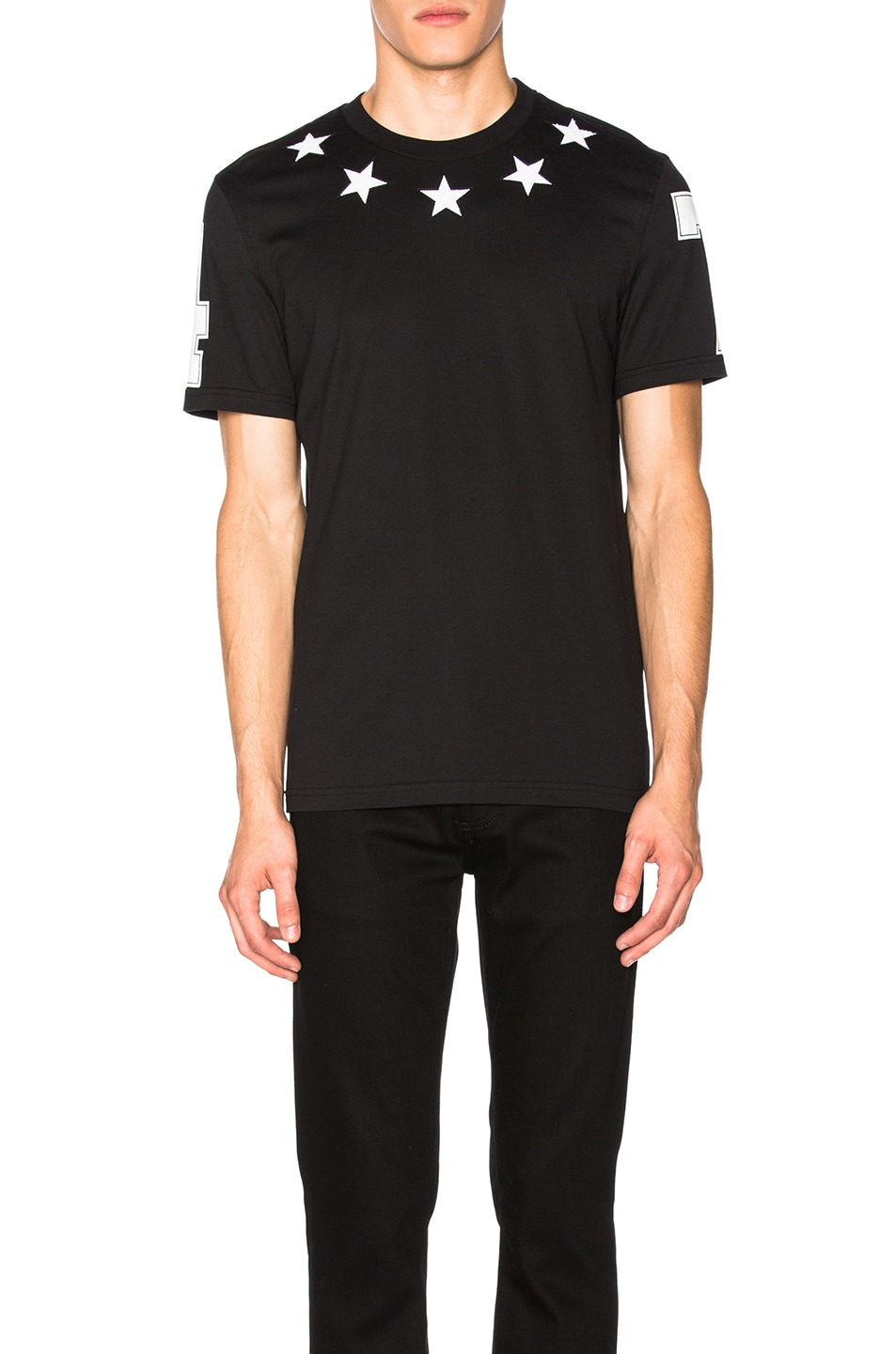 Givenchy star patches cuban fit cotton t shirt black for Givenchy 5 star shirt