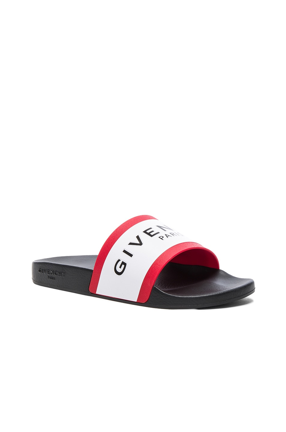 Image 2 of Givenchy Slide Sandals in Black, White & Red