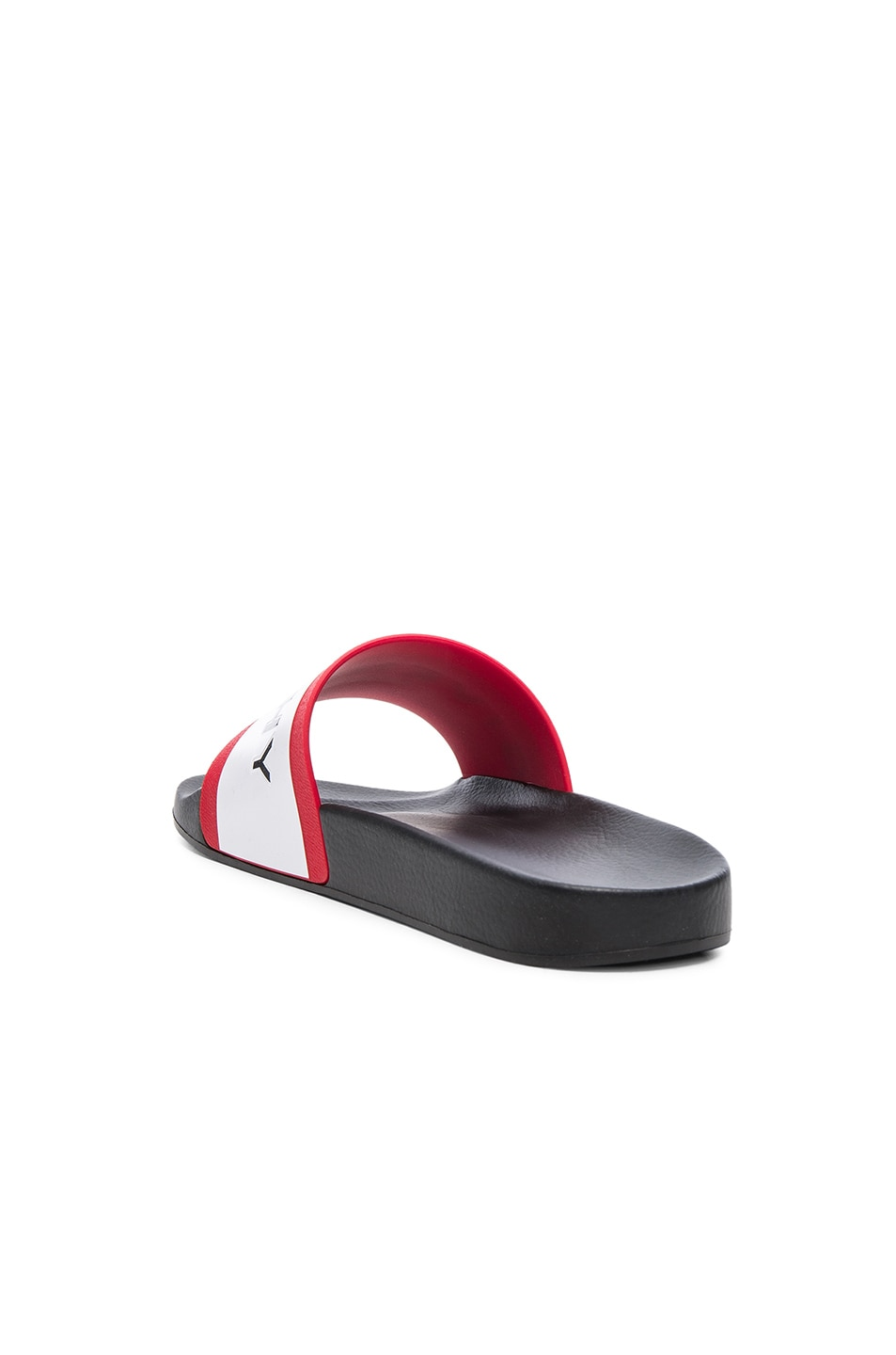 Image 4 of Givenchy Slide Sandals in Black, White & Red