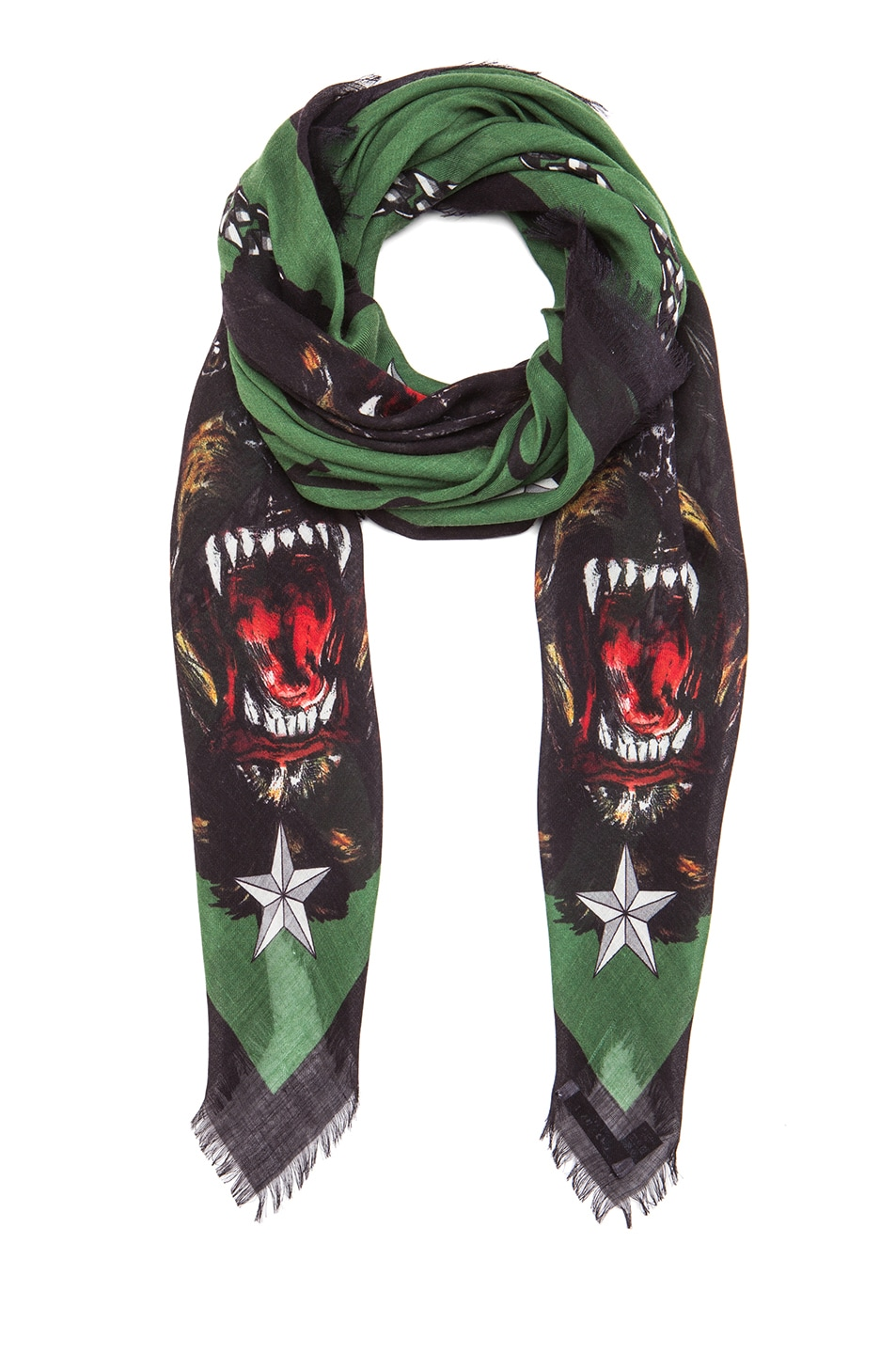 Image 2 of GIVENCHY Rottweiler Silk & Wool Scarf in Green