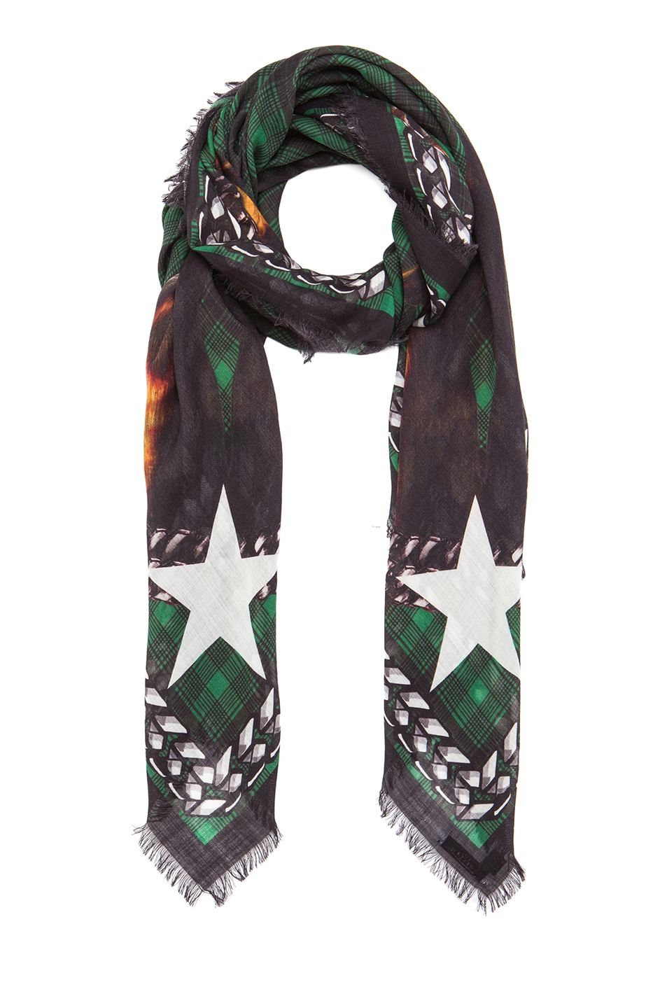 Image 2 of GIVENCHY Doberman Wool Scarf in Emerald Green