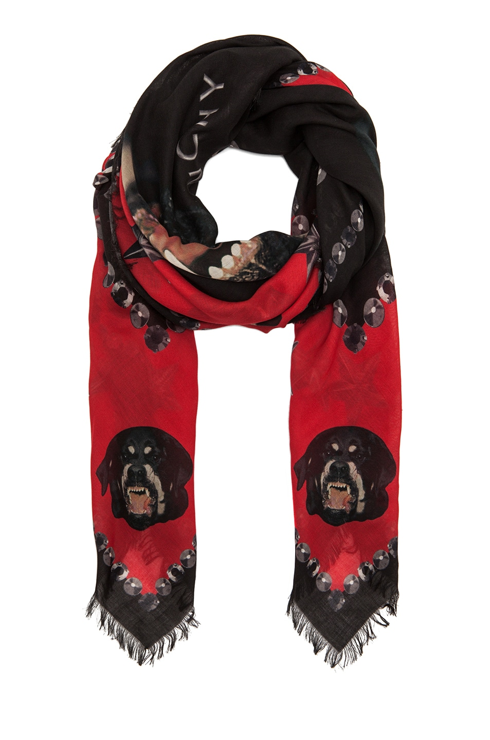 Image 2 of GIVENCHY Rottweiler Scarf in Black & Red