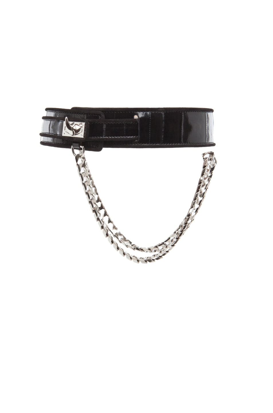 Image 3 of GIVENCHY Large Eel Shark Tooth Chain Belt in Black