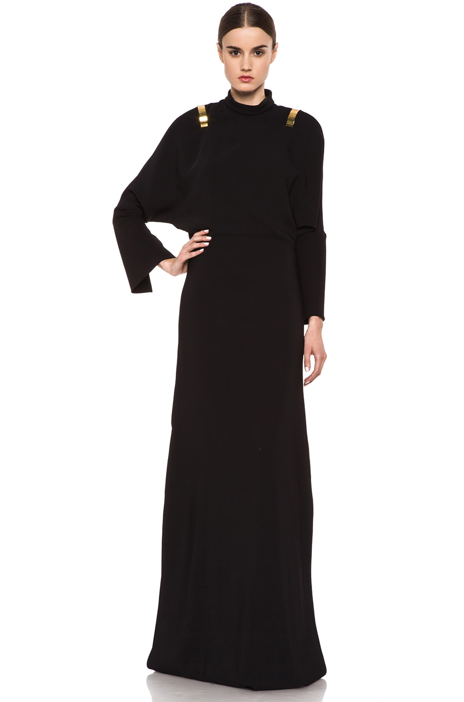 Image 1 of GIVENCHY Stretch Cady Open Back Viscose Gown in Black