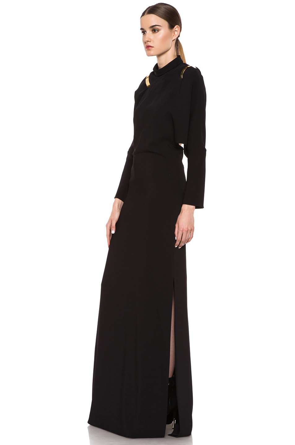 Image 2 of GIVENCHY Stretch Cady Open Back Viscose Gown in Black