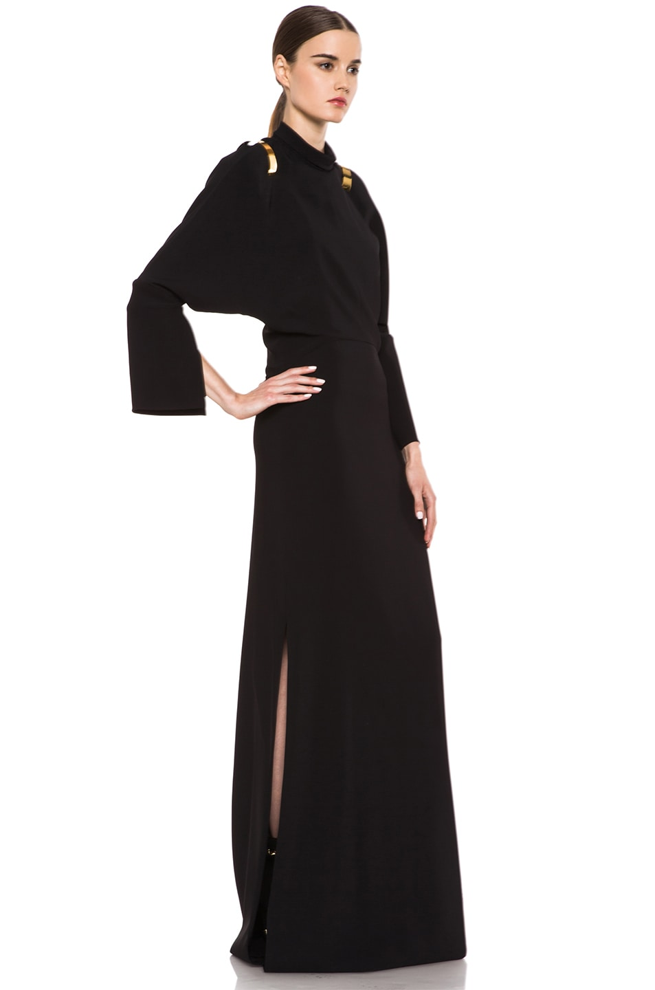 Image 3 of GIVENCHY Stretch Cady Open Back Viscose Gown in Black