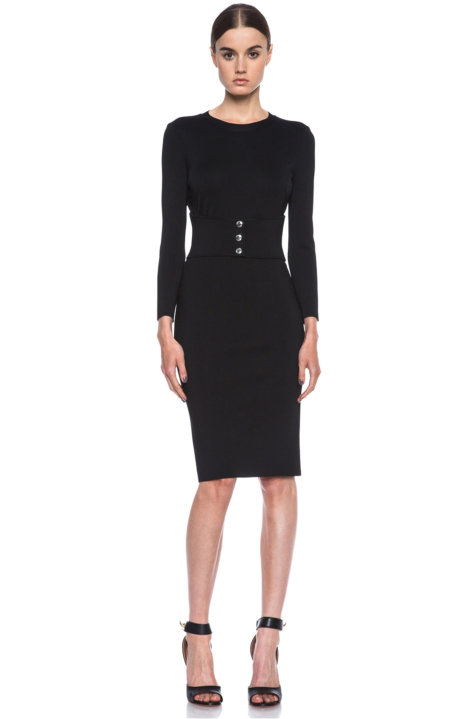 Image 1 of GIVENCHY Structured Jersey Fitted Dress with Corset Belt in Black