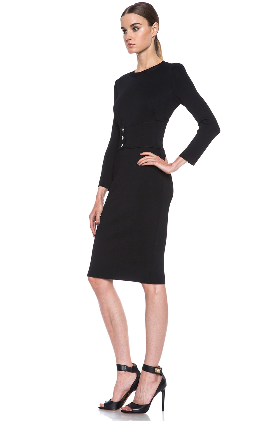 Image 2 of GIVENCHY Structured Jersey Fitted Dress with Corset Belt in Black