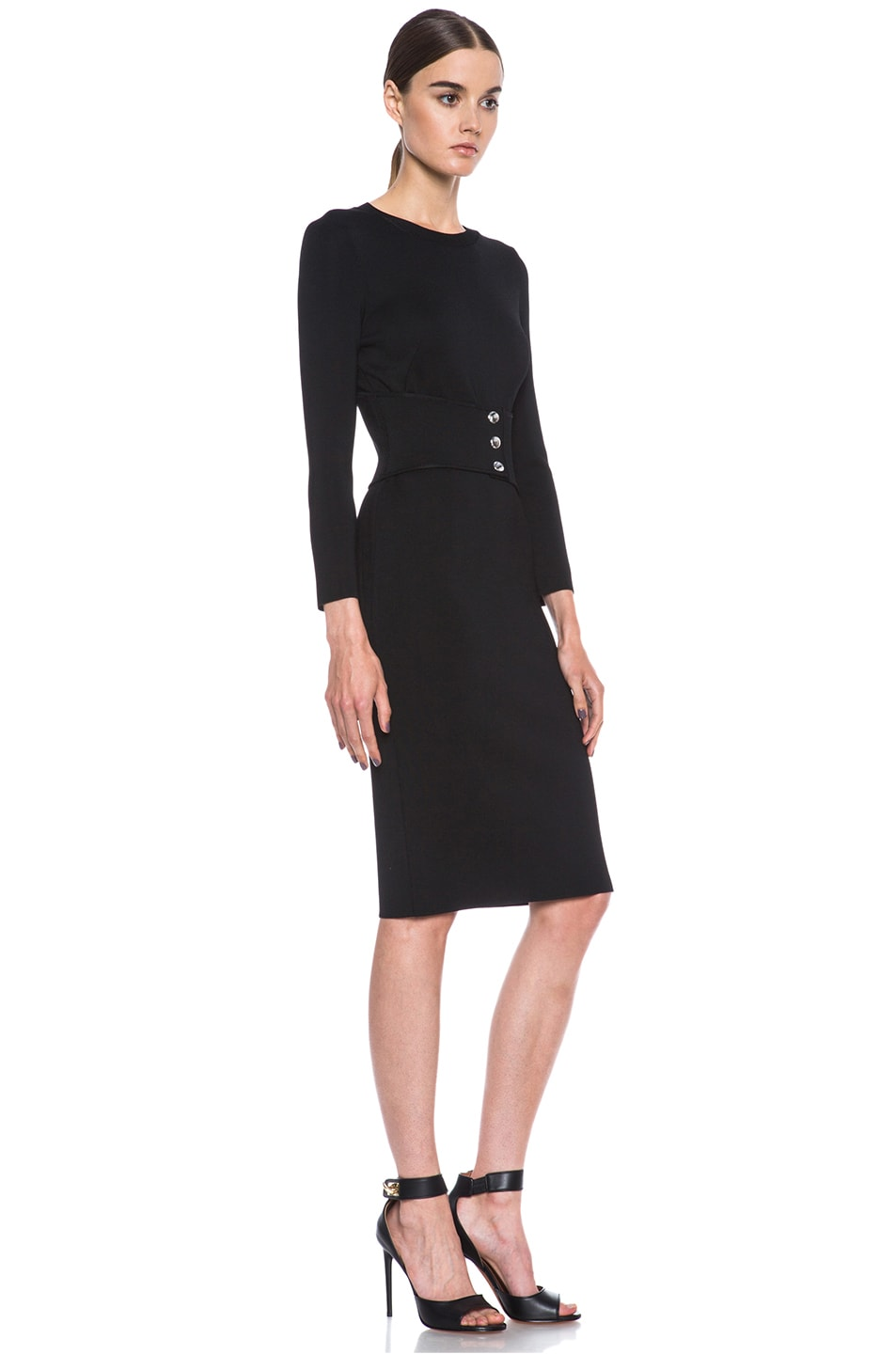 Image 3 of GIVENCHY Structured Jersey Fitted Dress with Corset Belt in Black