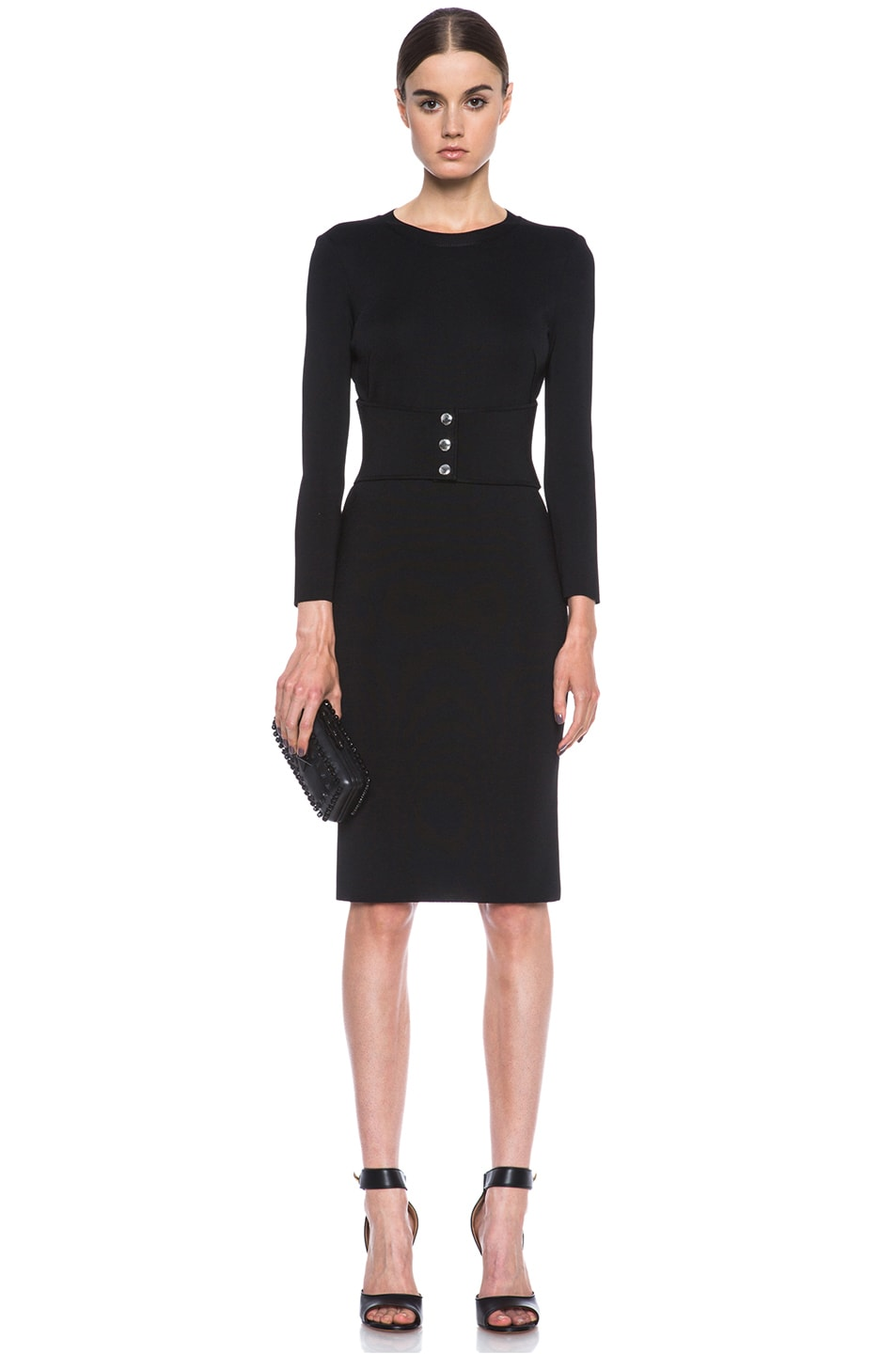 Image 5 of GIVENCHY Structured Jersey Fitted Dress with Corset Belt in Black