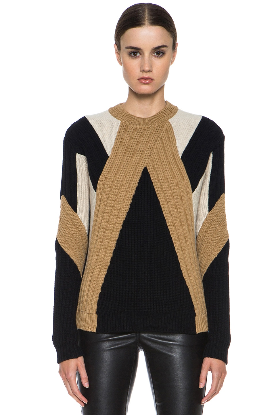 Image 1 of GIVENCHY Crew Neck Ribbed Wool-Blend Pullover in Black & Beige