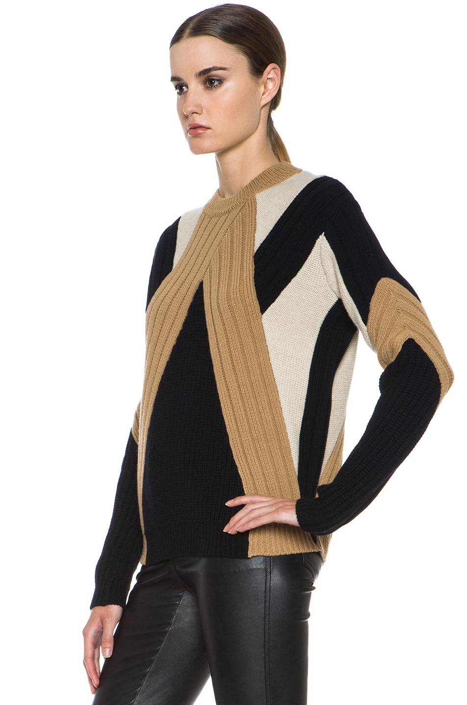 Image 2 of GIVENCHY Crew Neck Ribbed Wool-Blend Pullover in Black & Beige