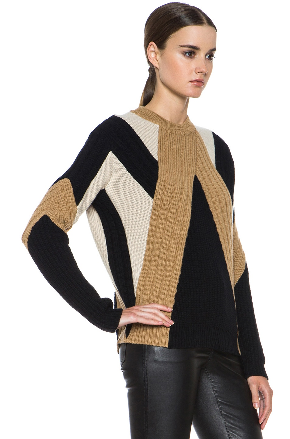 Image 3 of GIVENCHY Crew Neck Ribbed Wool-Blend Pullover in Black & Beige