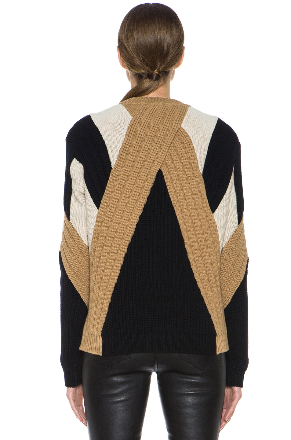 Image 4 of GIVENCHY Crew Neck Ribbed Wool-Blend Pullover in Black & Beige