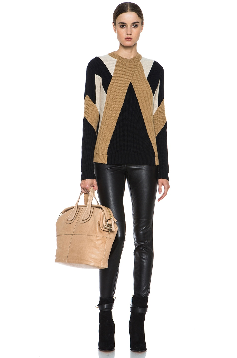 Image 5 of GIVENCHY Crew Neck Ribbed Wool-Blend Pullover in Black & Beige