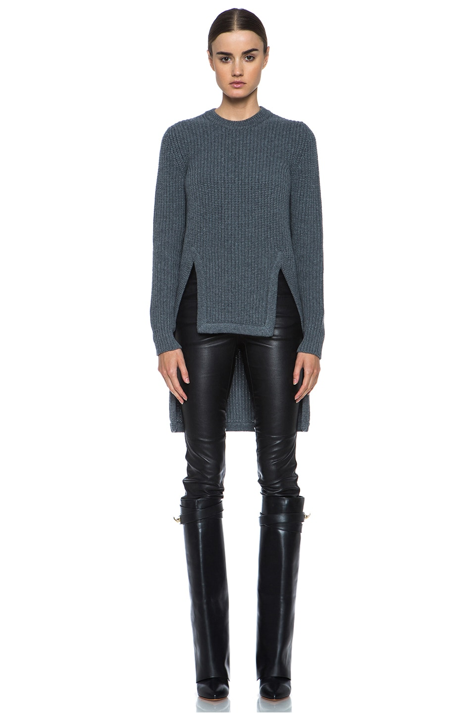 Image 1 of GIVENCHY Long Back Chunky Ribbed Pullover in Charcoal
