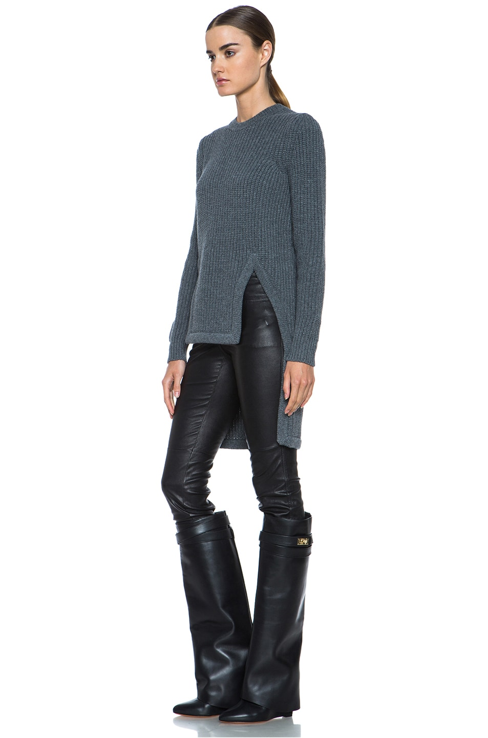 Image 2 of GIVENCHY Long Back Chunky Ribbed Pullover in Charcoal
