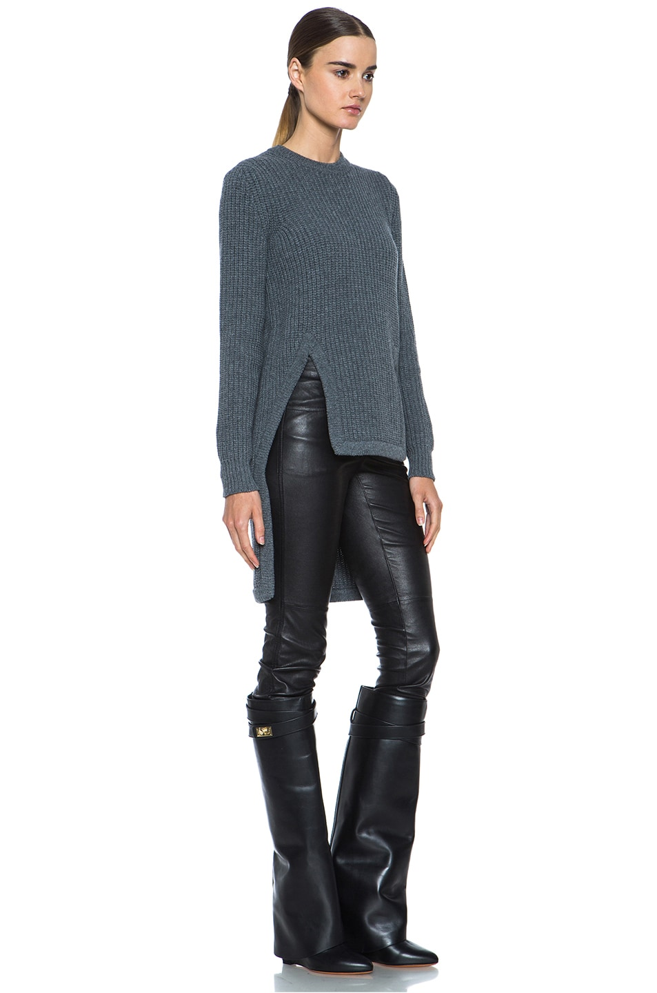 Image 3 of GIVENCHY Long Back Chunky Ribbed Pullover in Charcoal