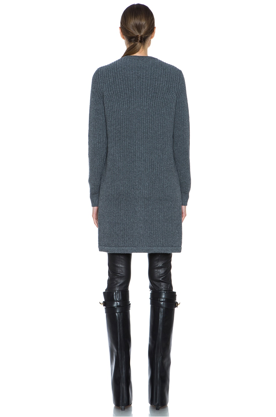 Image 4 of GIVENCHY Long Back Chunky Ribbed Pullover in Charcoal