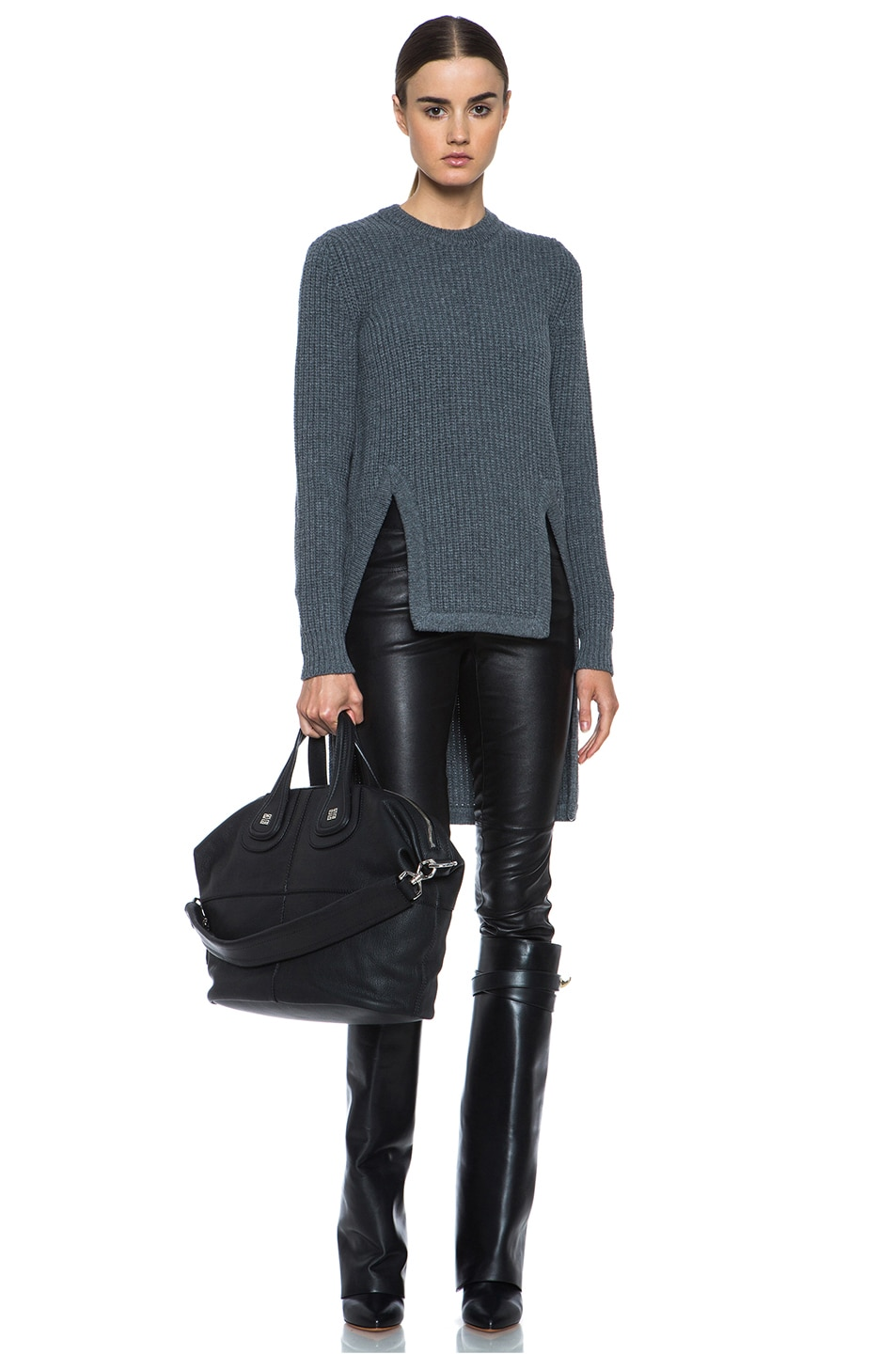 Image 5 of GIVENCHY Long Back Chunky Ribbed Pullover in Charcoal