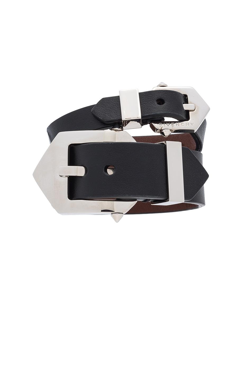 Image 1 of Givenchy Double Belt Bracelet in Black