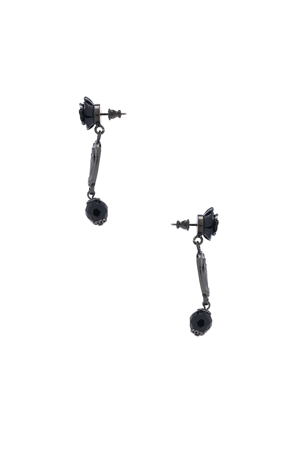 Image 2 of Givenchy Rosario Rose Earrings in Black & Black Resin