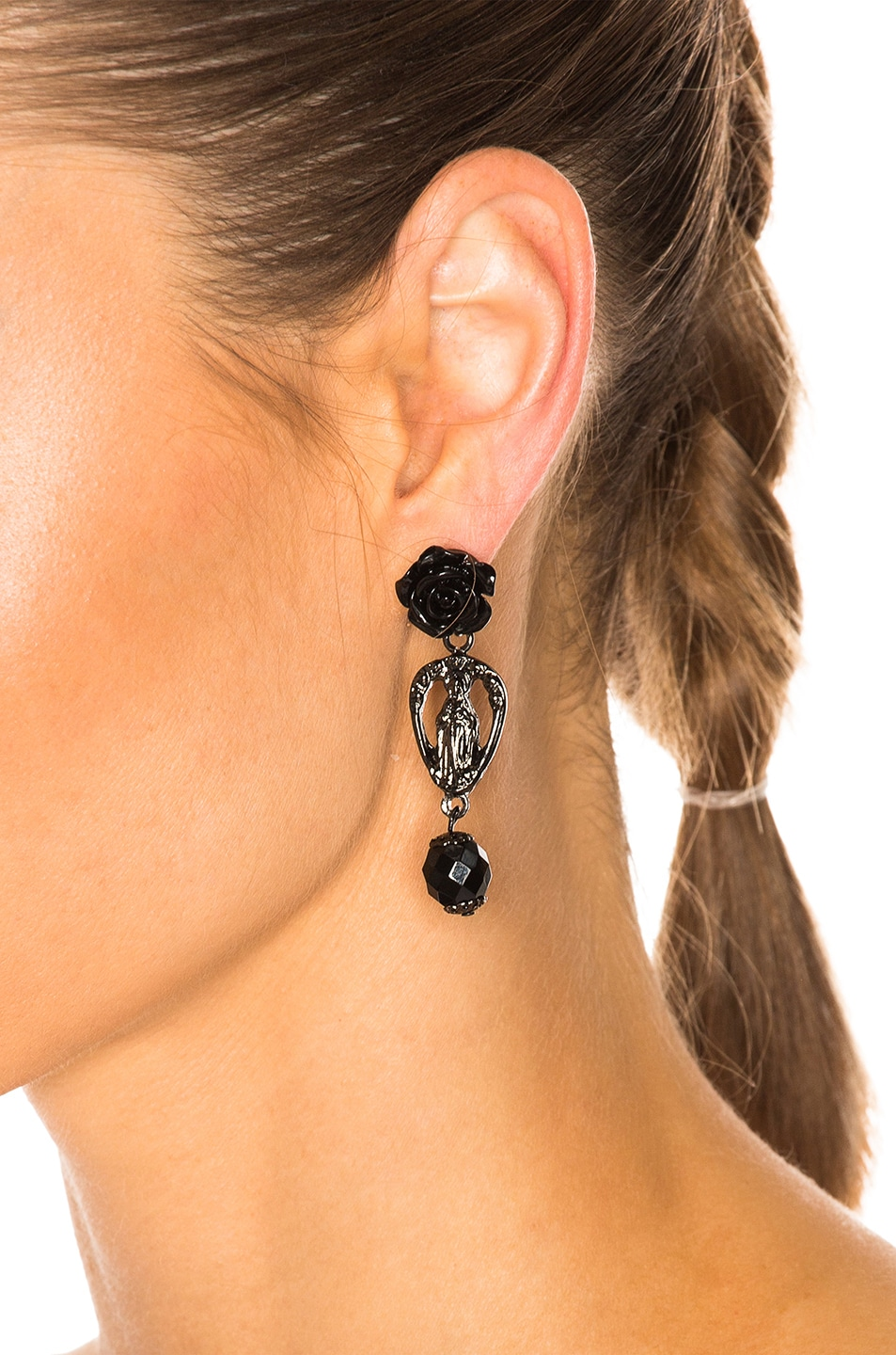 Image 4 of Givenchy Rosario Rose Earrings in Black & Black Resin