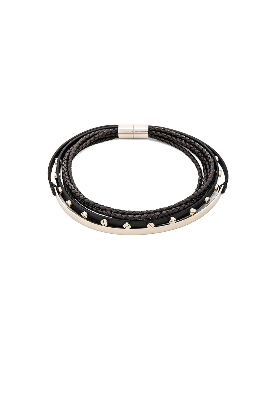Image 1 of Givenchy Leather & Metal Choker in Black & Pale Gold