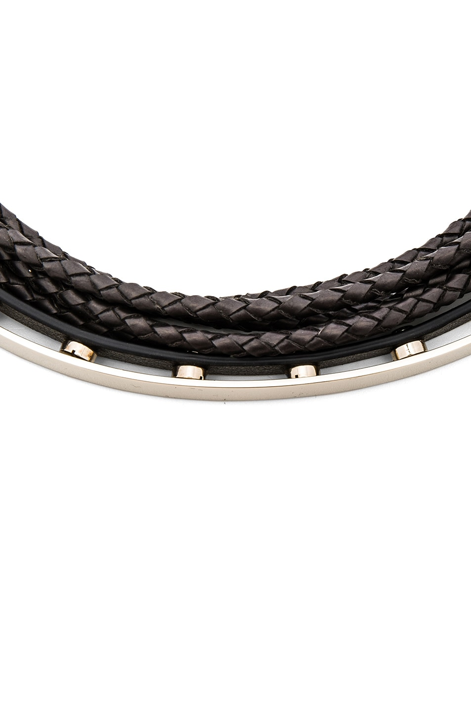 Image 2 of Givenchy Leather & Metal Choker in Black & Pale Gold