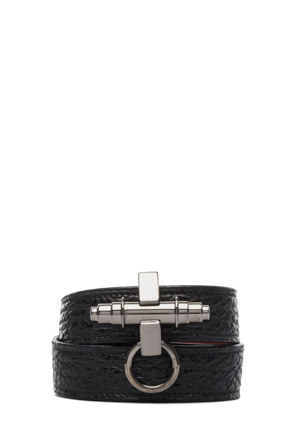 Image 1 of GIVENCHY Shark Effect Leather Wrap Bracelet in Black