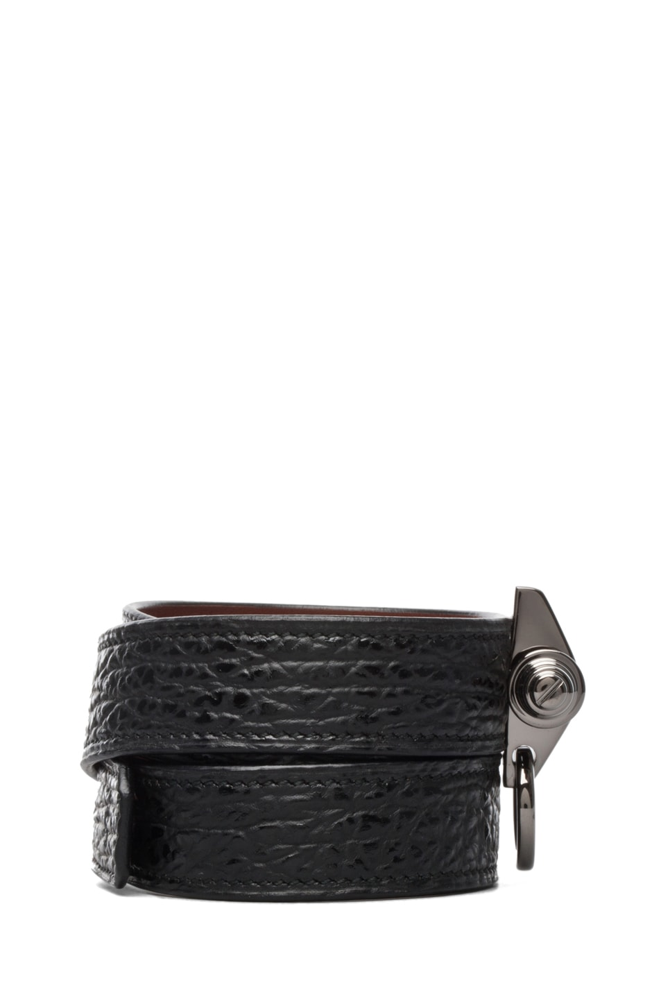Image 2 of GIVENCHY Shark Effect Leather Wrap Bracelet in Black