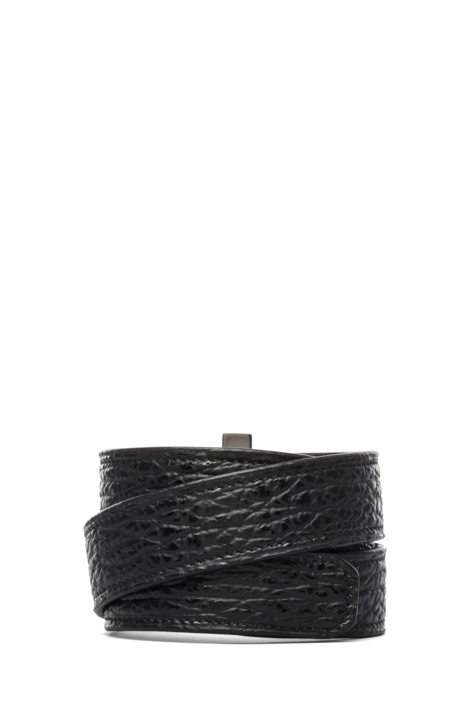 Image 3 of GIVENCHY Shark Effect Leather Wrap Bracelet in Black