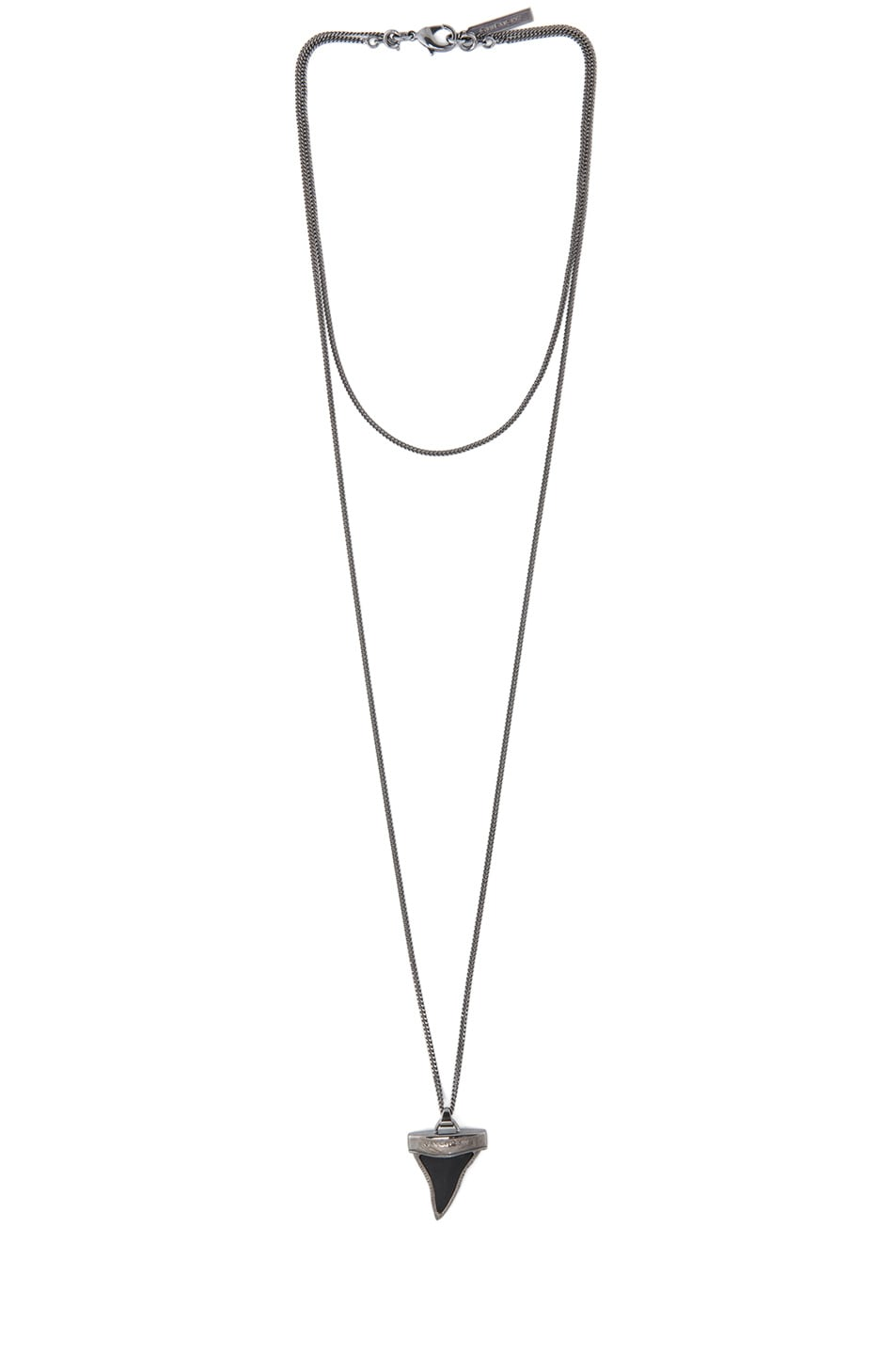 Image 1 of GIVENCHY Mini Shark Teeth Double Chain Necklace in Gunmetal