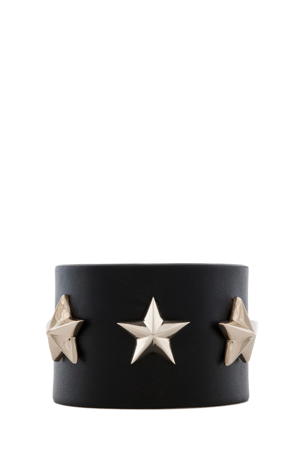 Image 1 of GIVENCHY Small Leather Star Cuff in Black