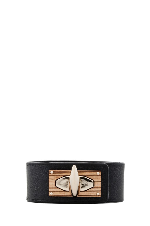 Image 1 of GIVENCHY Shark Lock Bracelet in Black Leather & Wood