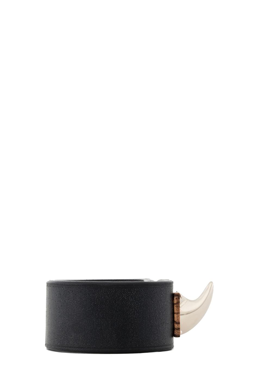 Image 2 of GIVENCHY Shark Lock Bracelet in Black Leather & Wood