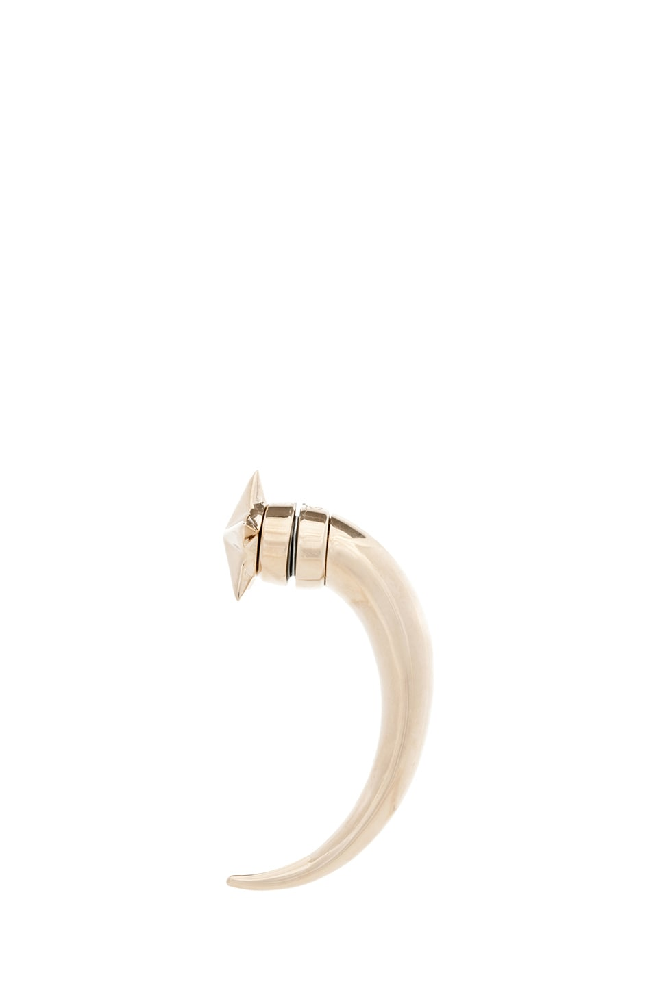 Image 4 of GIVENCHY Star Shark Tooth Brass Earring in Pale Gold