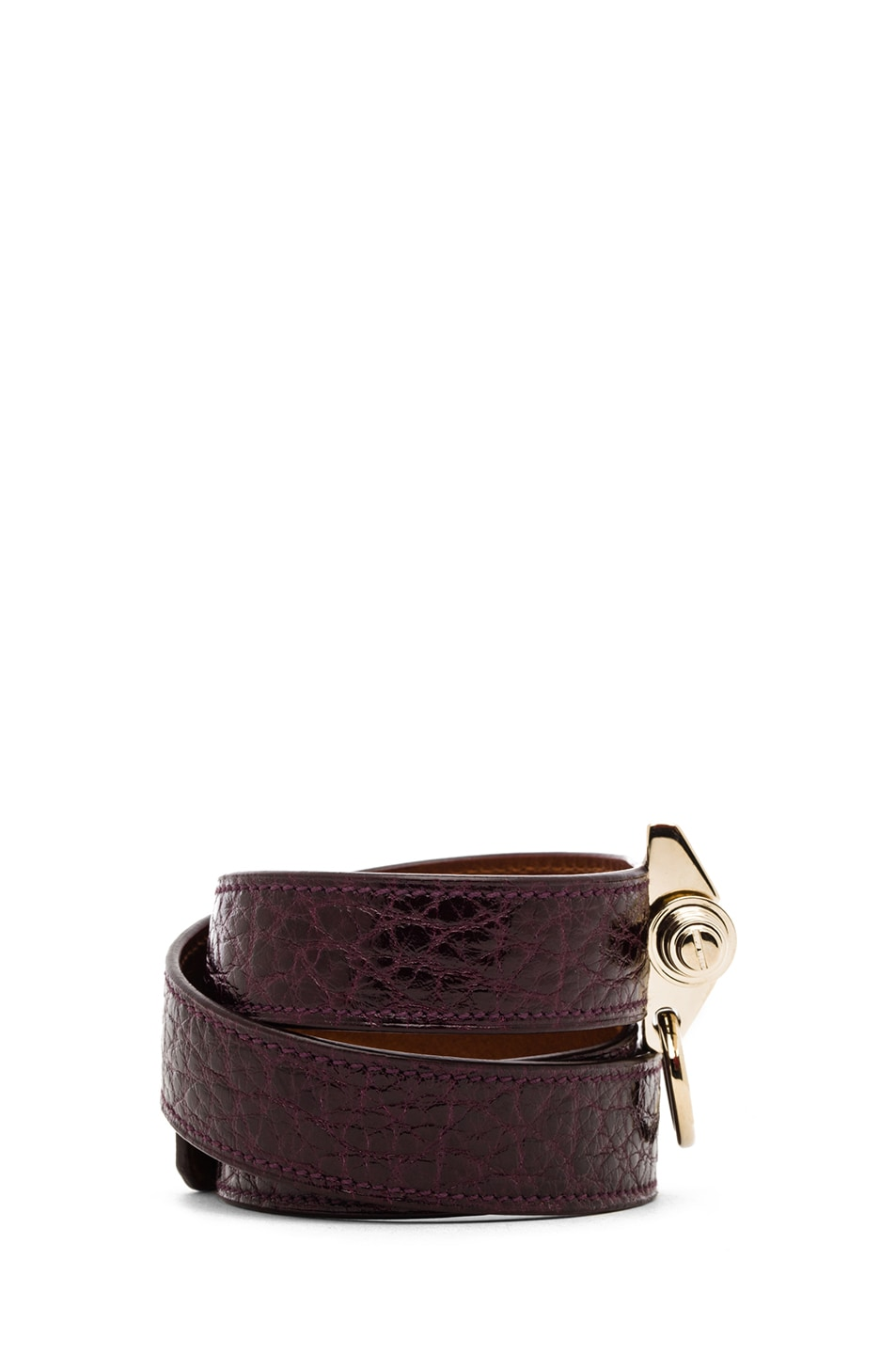 Image 2 of GIVENCHY Triple Obsedia Calfskin Bracelet in Aubergine