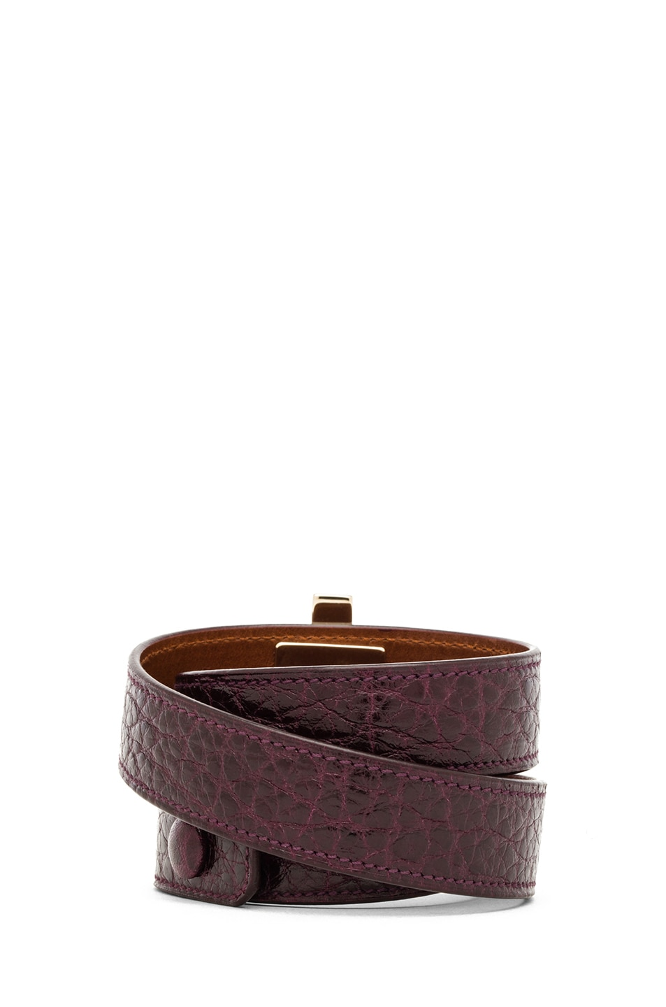 Image 3 of GIVENCHY Triple Obsedia Calfskin Bracelet in Aubergine