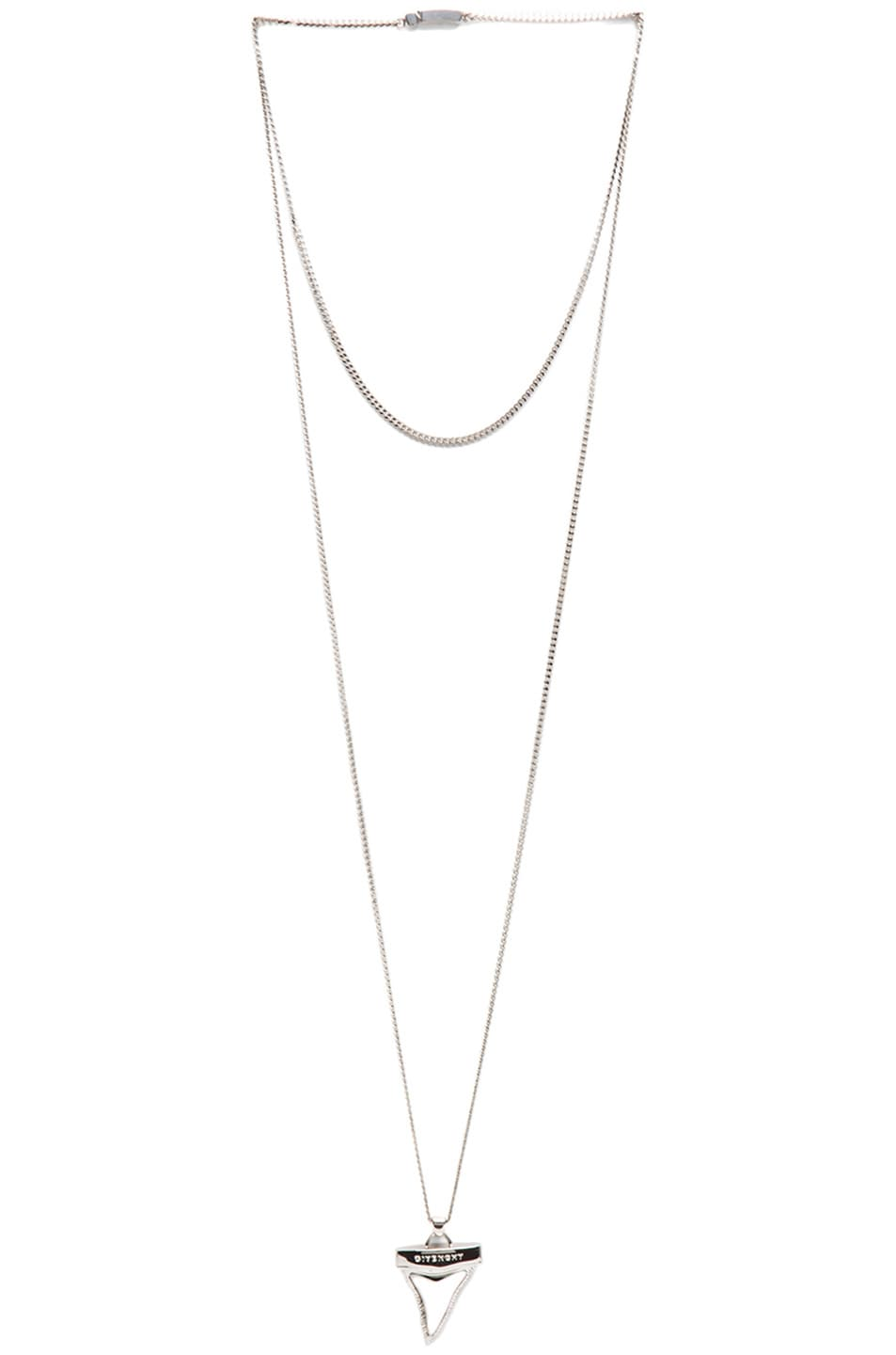 Image 1 of GIVENCHY Small Shark Tooth Necklace in Black & Silver