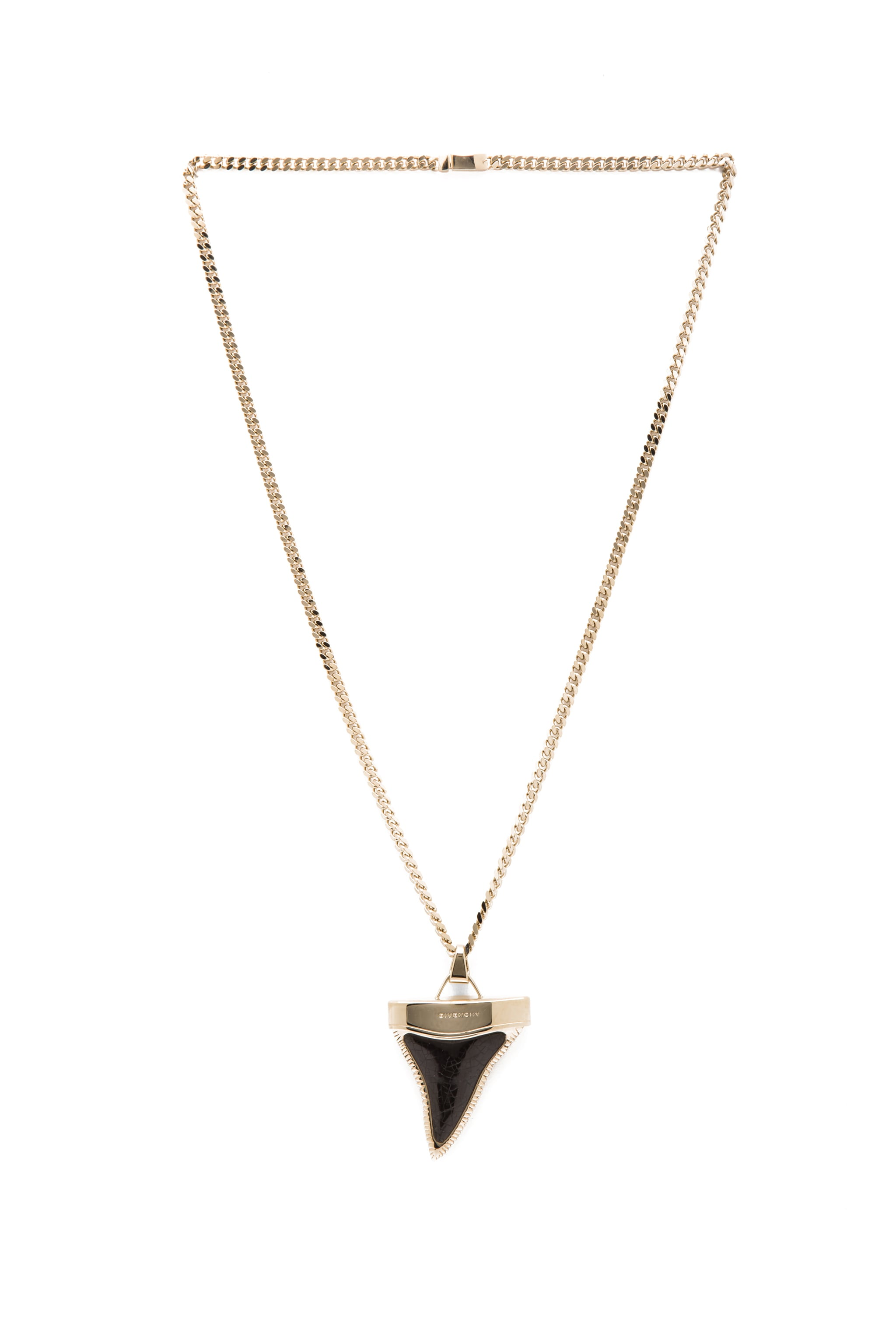 Image 2 of GIVENCHY Large Shark Tooth Brass Necklace in Black