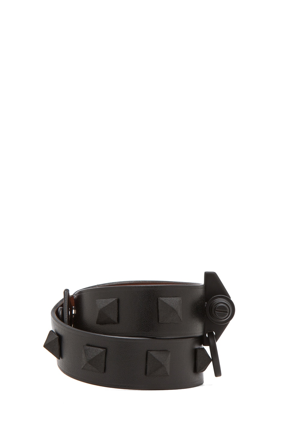 Image 2 of GIVENCHY Double Loop Obsedia Bracelet with Pyramid Studs in Black