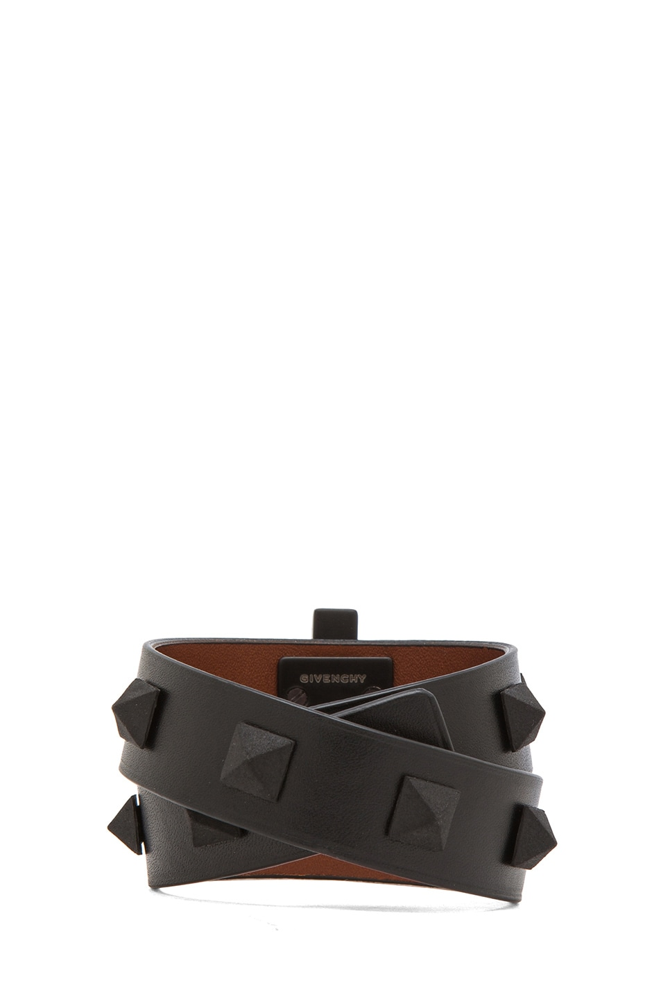 Image 3 of GIVENCHY Double Loop Obsedia Bracelet with Pyramid Studs in Black