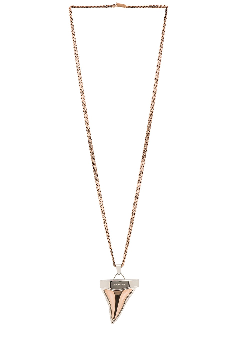 Image 2 of GIVENCHY Large Shark Tooth Necklace in Old Pink & Silver