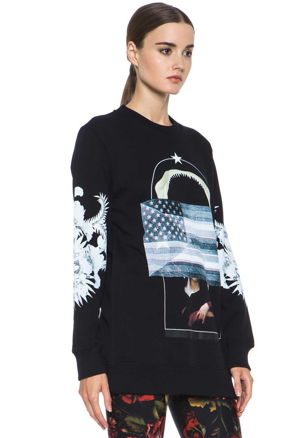 Image 3 of GIVENCHY Flag and Jaws Sweatshirt in Black