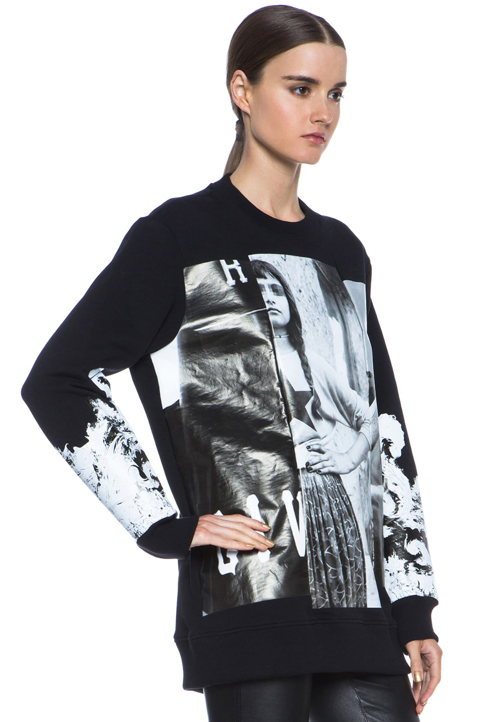 Image 3 of GIVENCHY Multiprint Sweatshirt in Black & White